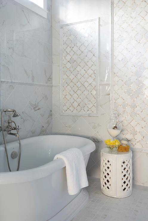 white arabesque bathroom tiles design ideas