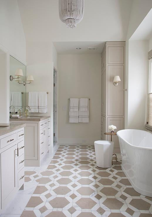 white and taupe hexagon tiles with