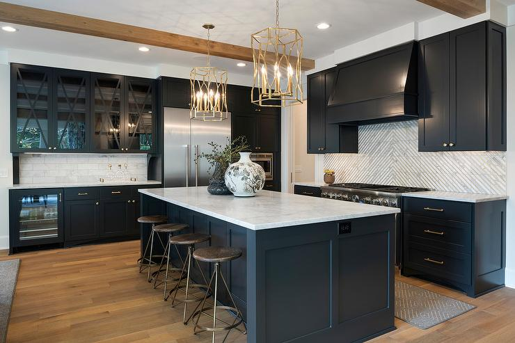 Black Shaker Cabinets With Square Marble Striped Tiles
