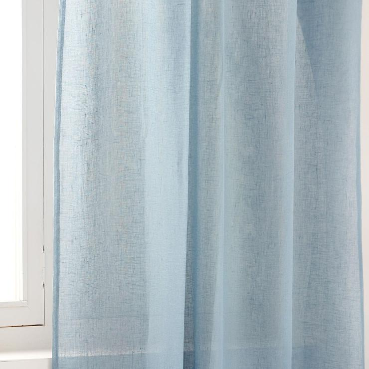Home Light Blue Sheer Linen Curtain