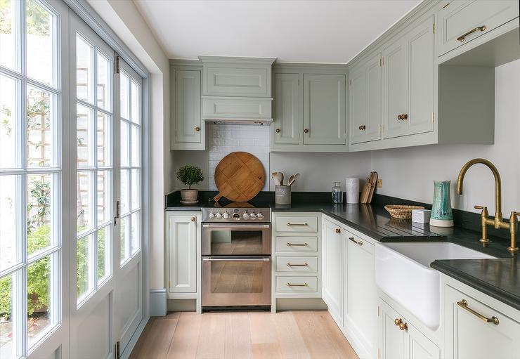 Light Gray Green Cottage Kitchen Colors Cottage Kitchen