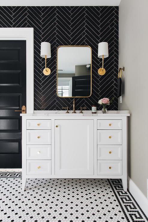 black greek key border floor tiles