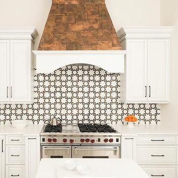 white and brown star pattern kitchen