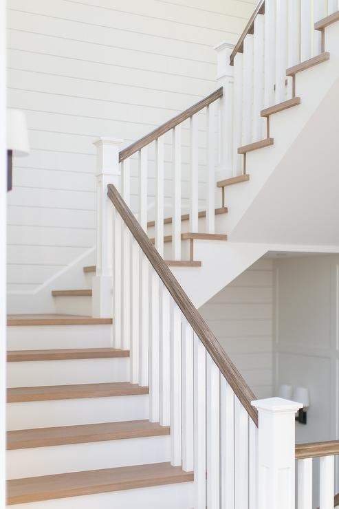 Gray Wash Wood Staircase Handrail Transitional Entrance Foyer   Wooden Staircase Handle Designs   Balusters   Stainless Steel   Stair Case   Modern Stair Railings   Stair Parts