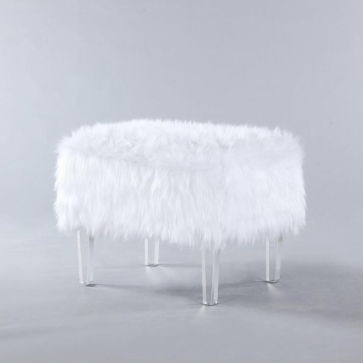 ricco white faux fur acrylic leg ottoman