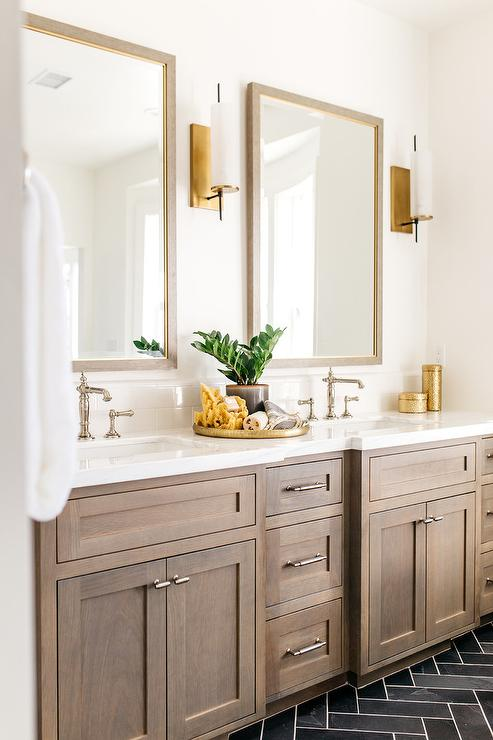 Brown Wood Mirror With Brown Shaker Vanity Cabinets Transitional Bathroom