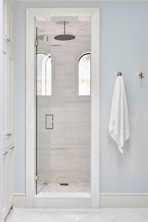 Arch Windows In Walk In Shower Transitional Bathroom