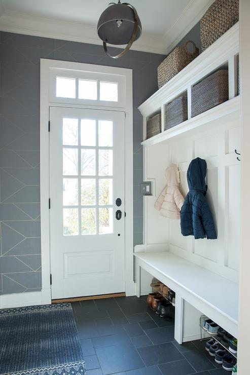 Transitional Mudroom With Built In Bench And Board And