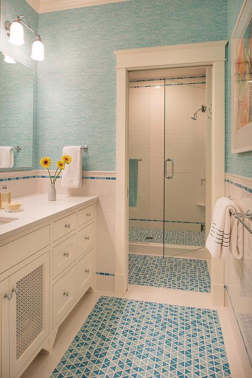 blue glass kids bathroom tiles design ideas