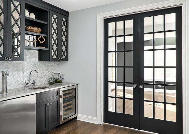 Black Mirrored Pantry Cabinets With Black Shelves Transitional Kitchen