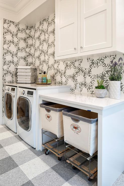 white and gray plaid laundry room floor
