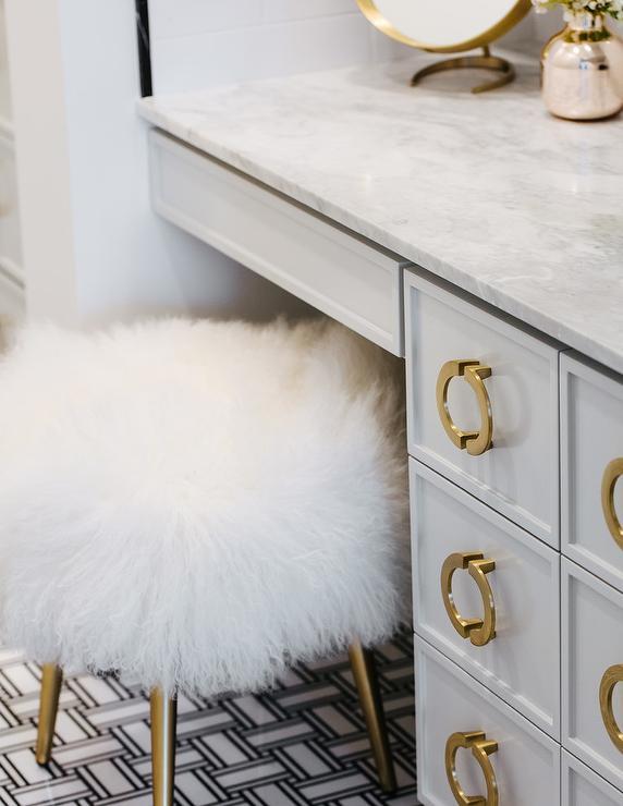 white and gold makeup vanity stool at
