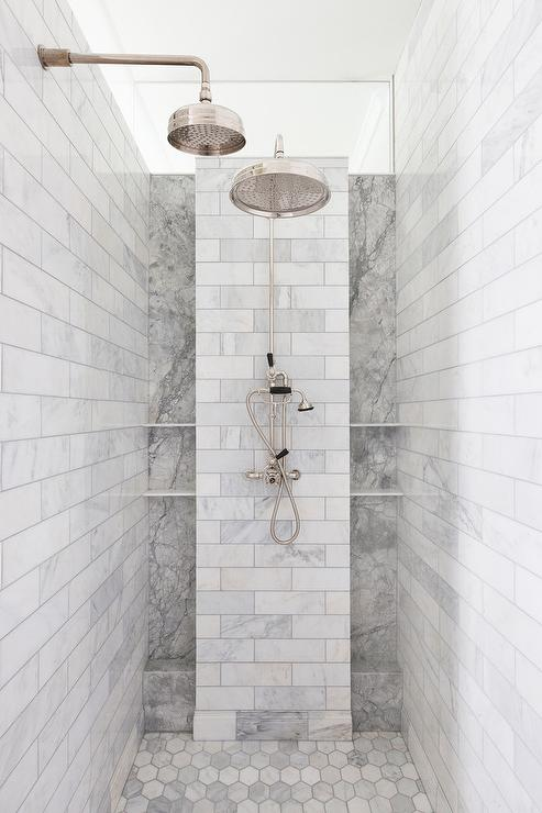 gray marble subway tiles with white