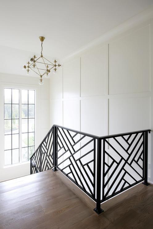 Black Lattice Staircase Railing Design Ideas | Stair Railing Design Modern With Glass | L Shape | Interior Residential Metal | Simplistic | Grill | Button Glass