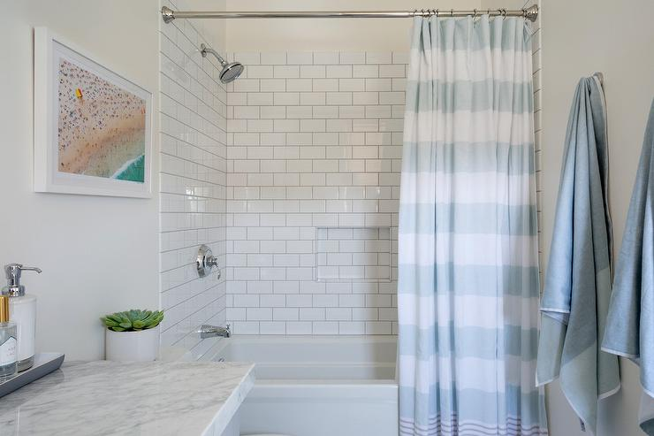 blue stripe shower curtain with white