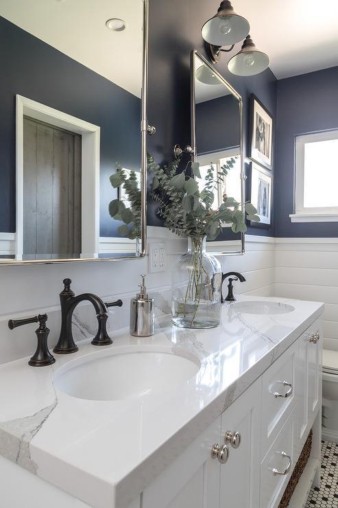 Navy Dual Bathroom Vanity With White Marble Top