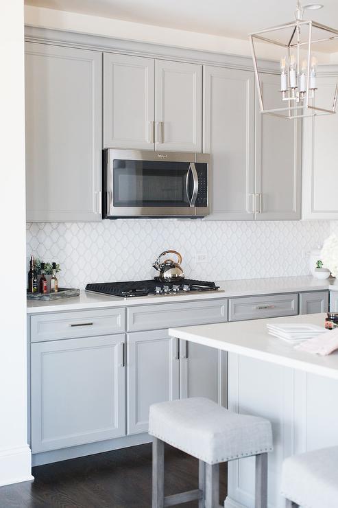 White Arabesque Cooktop Tiles Transitional Kitchen