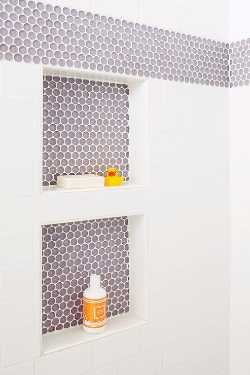 purple penny tiled shower niches