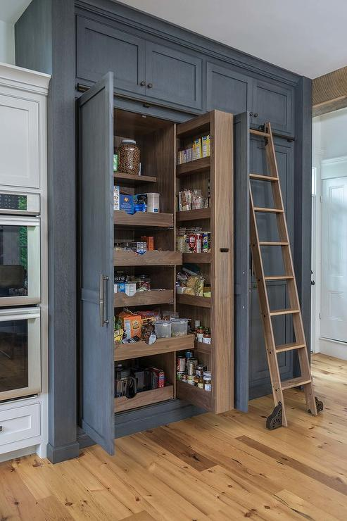 Dark Gray Wood Pantry Cabinets With Pull Out Shelves Transitional Kitchen
