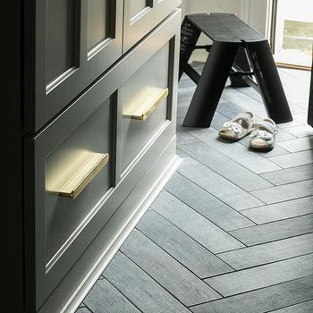 black slate herringbone kitchen floor