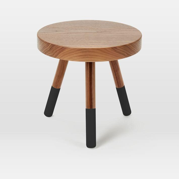 round low two toned wood side table