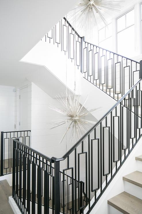 Modern Wrought Iron Staircase Railing With Gray Stair Treads   Wrought Iron Handrail Designs   Staircase   Iron Pipe   Cast Iron Railing   Garden   Geometric Railing