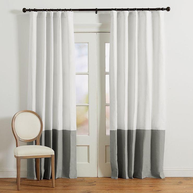 colorblock gray white linen drapery panel