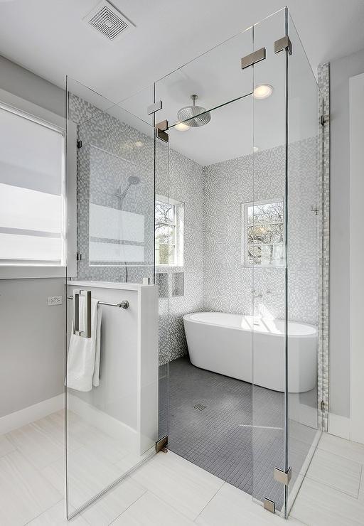 gray grid shower floor tiles modern