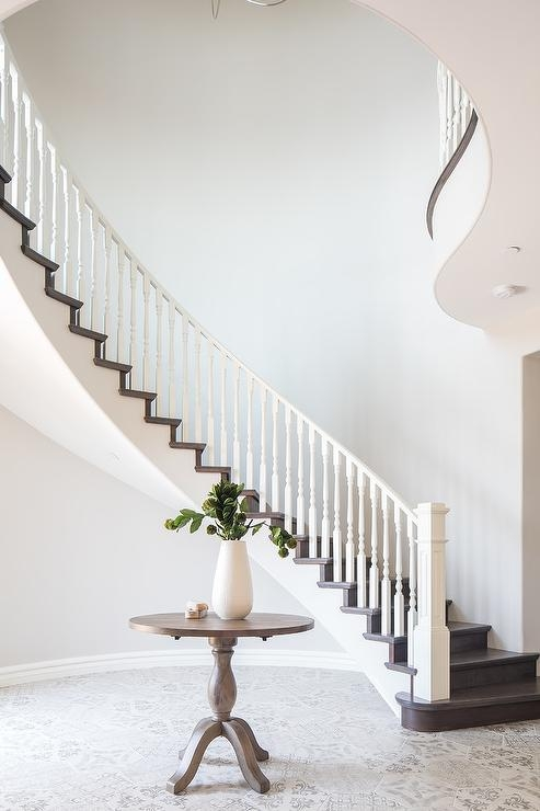 White And Brown Staircase Design Ideas | White Oak Handrail Round | Flooring | Wood Handrail | Foyer | Mopstick | Staircase