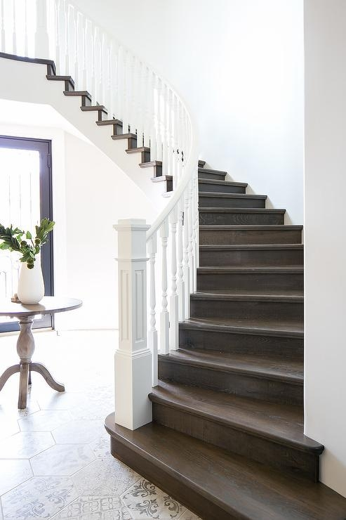 White And Brown Staircase Design Ideas | Dark Wood Stair Treads | Timber | White Handrail | Dark Stained | Natural Wood | Wood Finish