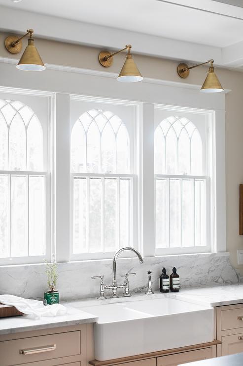 lights above kitchen windows design ideas