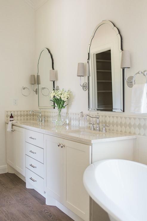 Ivory Dual Bath Vanity With Satin Nickel Pulls Transitional Bathroom