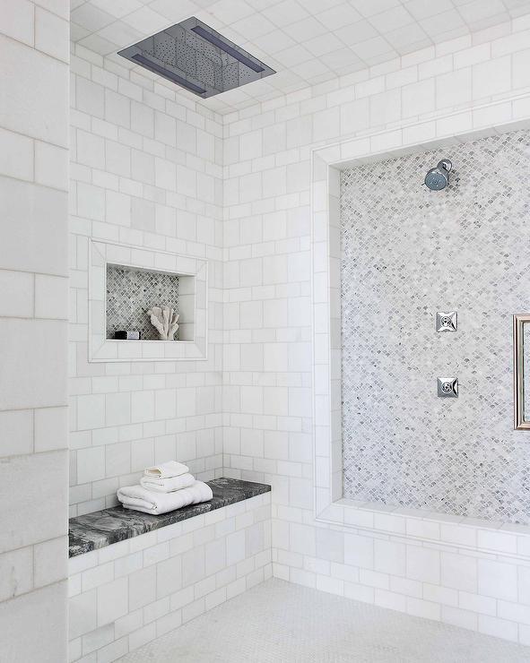 small fan shaped marble tiles in shower