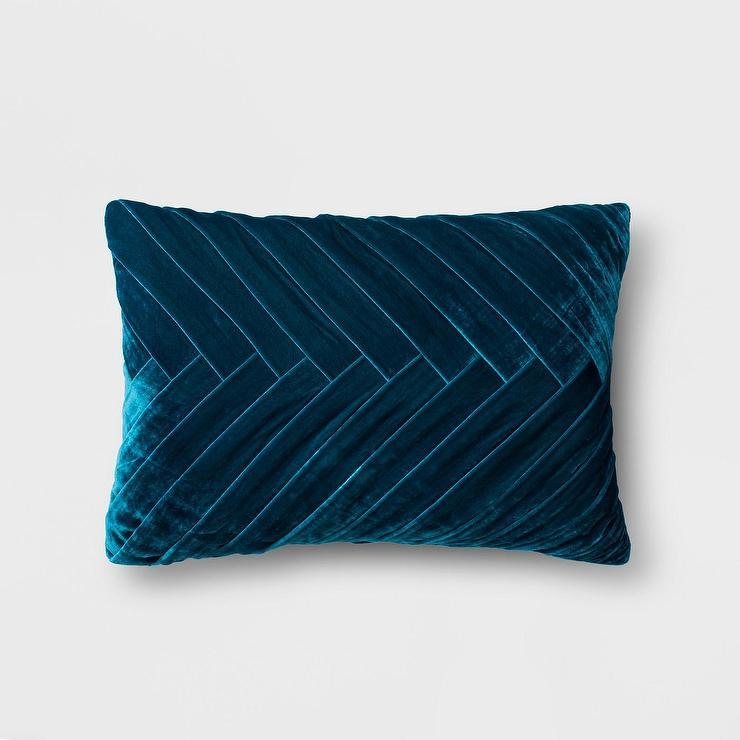 opalhouse pleated teal velvet lumbar pillow