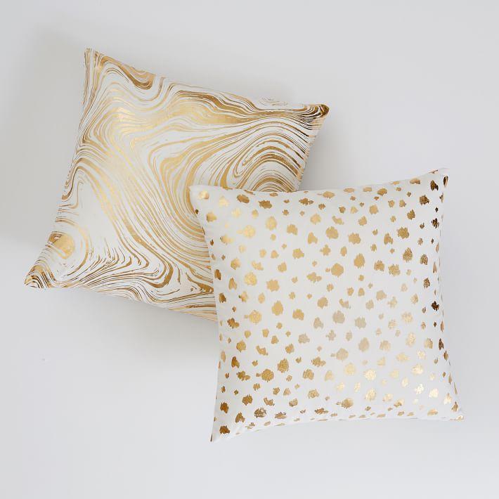 thumbprint white gold dots throw pillow