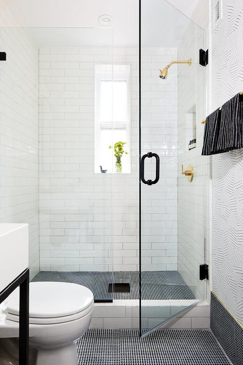 black mini penny tile baseboards