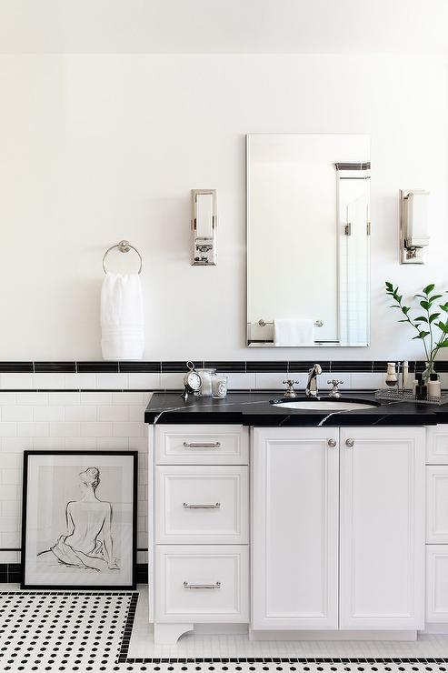 honed black marble countertop on white
