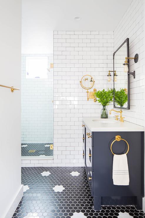black hex floor tiles