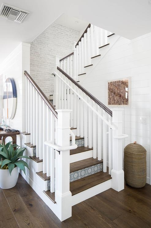 Blue Mosaic Staircase Riser Tiles Transitional Entrance Foyer | Hardwood Stairs With White Risers | Pine | Tread | Trim | Hardwood Flooring | Before And After