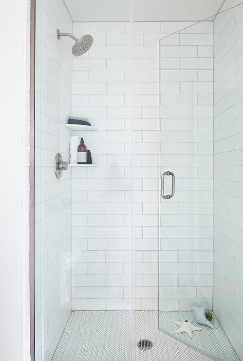 thin white herringbone shower floor