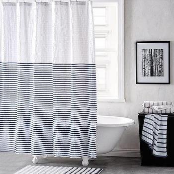 striped grey linen shower curtain