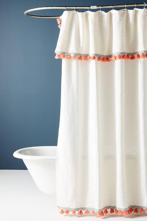 arden ivory red tasseled shower curtain