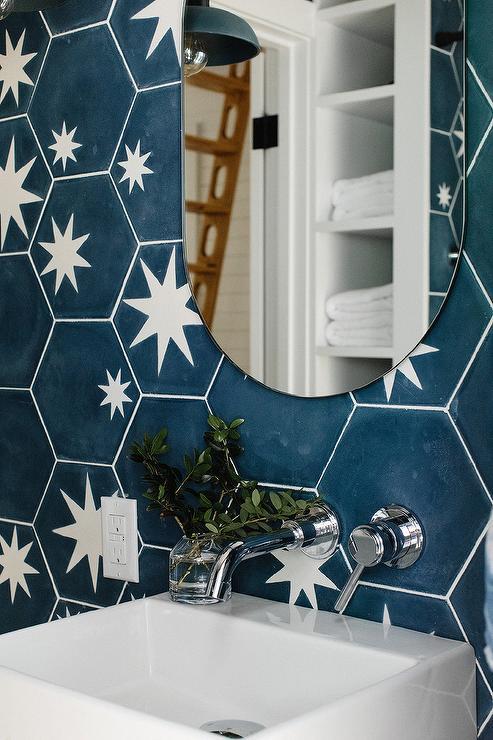 black cement hexagon bath backsplash