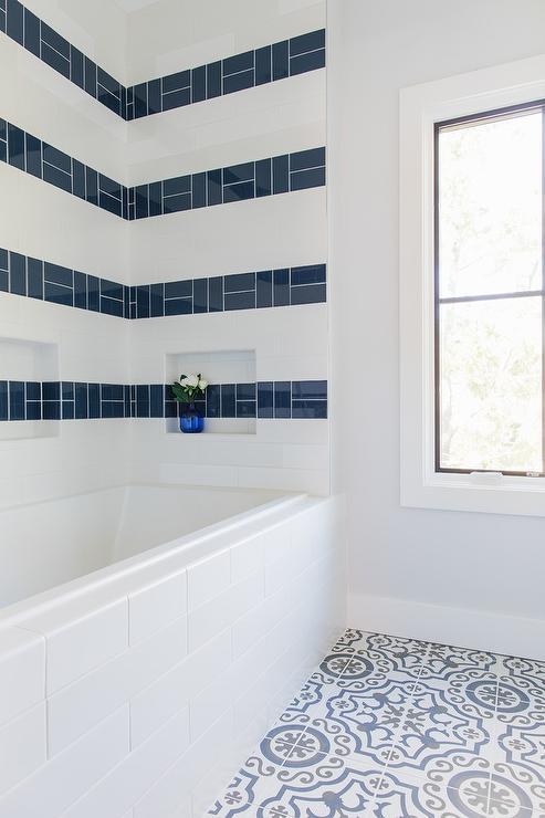 blue striped shower surround tiles