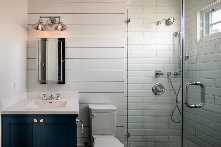 walk in shower with shiplap design ideas