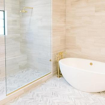 Gray Marble Shower With Gray Glass Border Tiles