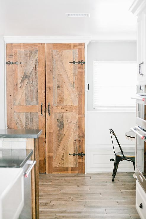 Dual Shiplap Pantry Doors Design Ideas