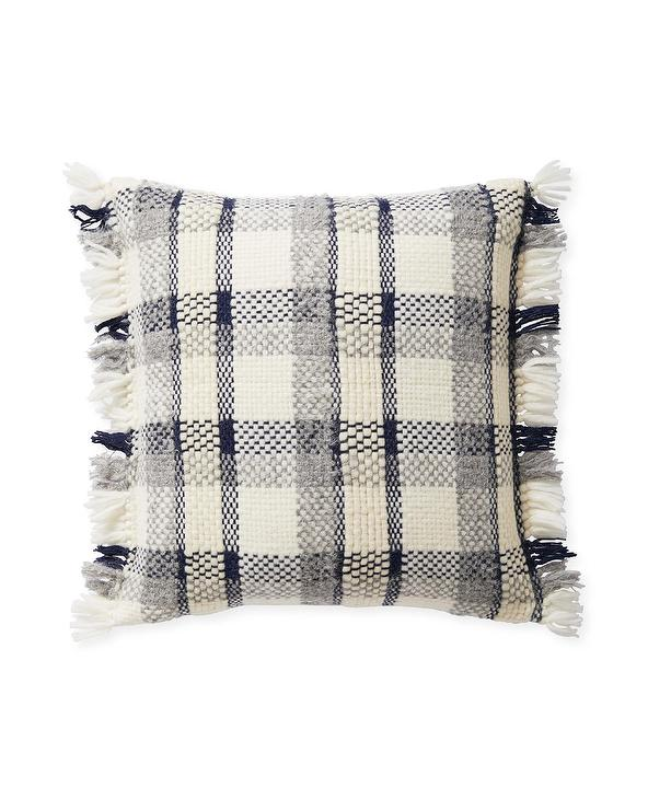 navy and white plaid pillow