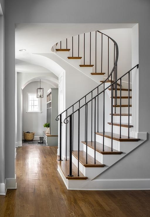 Wrought Iron Staircase Railing Transitional Entrance Foyer | Curved Wrought Iron Railings | Colonial | Wood | Wall Mounted | Outdoor | Veranda