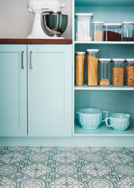 Turquoise Blue Pantry Cabinets With Wood Counter Transitional Kitchen